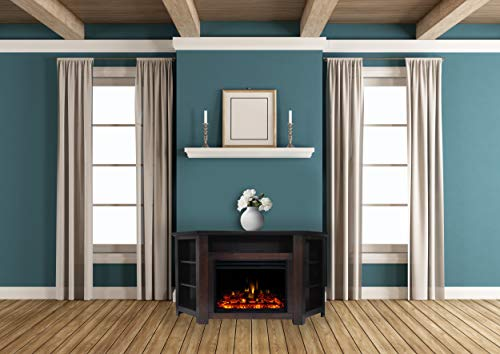 Cambridge Stratford Heater with 56-in. Mahogany Corner TV Stand, Enhanced Display, Multi-Color Flames, and Remote, CAM5630-1MAHLG3 Electric Fireplace