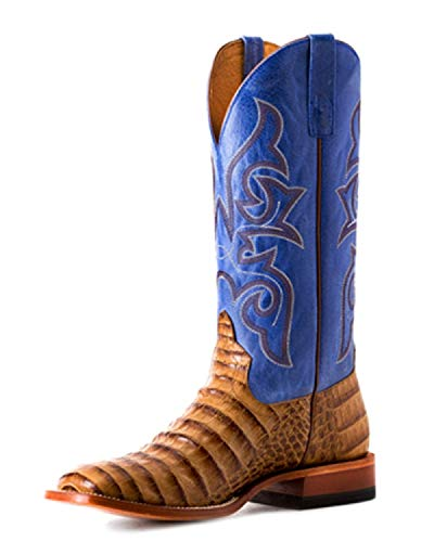 - HORSE POWER by Anderson Bean HP1842 Toasted Caiman Print Blue Sinsation Square Toe Boots (9.5)