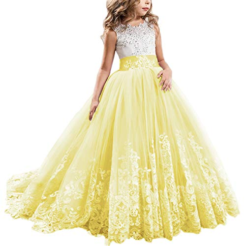Flower Girl Dress Kids Lace Beaded Pageant Ball Maxi Gowns Long First Communion Prom Formal Birthday Dresses Yellow 10-11 Years