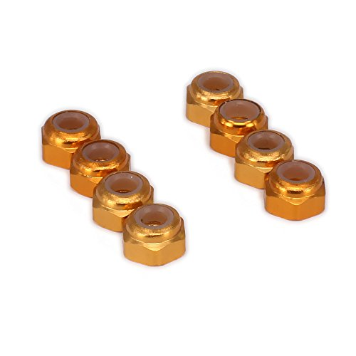 Price comparison product image RCAWD Lock Nuts T10070 M3 3mm Nylon Insert (Nyloc) Hex Flange Nut Aluminum for 1 / 10 RC Hobby Model Car / Heli Upgraded Hop-Up Parts HSP Axial HPI Traxxas Himoto 8Pcs(Gold)