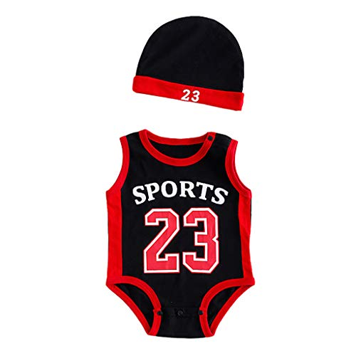 Fullwei Baby Boys 2-Pack Snap-up Rompers with Cap, Toddler Kids Jordan 23 Print Exercise Sleeveless Romper Cap Summer Sunsuit Playsuit (Red, 95)