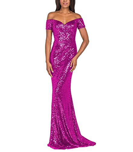 YSMei Women's Off Shoulder Long Mermaid Evening Celebrity Prom Dress Sequins Formal Gown Fuchsia 14 ()