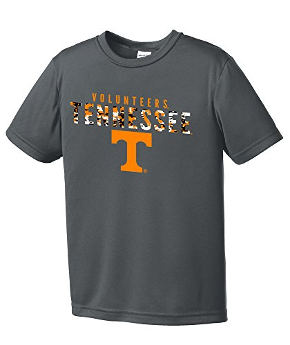 NCAA Youth Boys Digital Camo Mascot Short Sleeve Polyester Competitor T-Shirt, Tennessee Volunteers, Iron Grey - Youth (Tennessee Volunteers Camo)