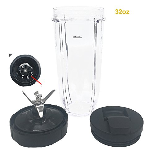(32oz Cup with spout lid and blade 7 Fins Gear Replacement Parts Blade Assembly for Nutri Ninja Auto iQ BL482 BL642 NN102 BL682 BL2013 Nutri Ninja Pro BL450-30/BL456-30/BL451-30/BL454-30)