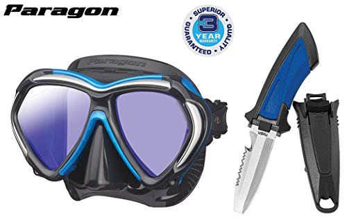 TUSA M-2001 Paragon Scuba Diving Mask, Black/Fishtail Blue w Mini Blunt Tip Dive Knife ()