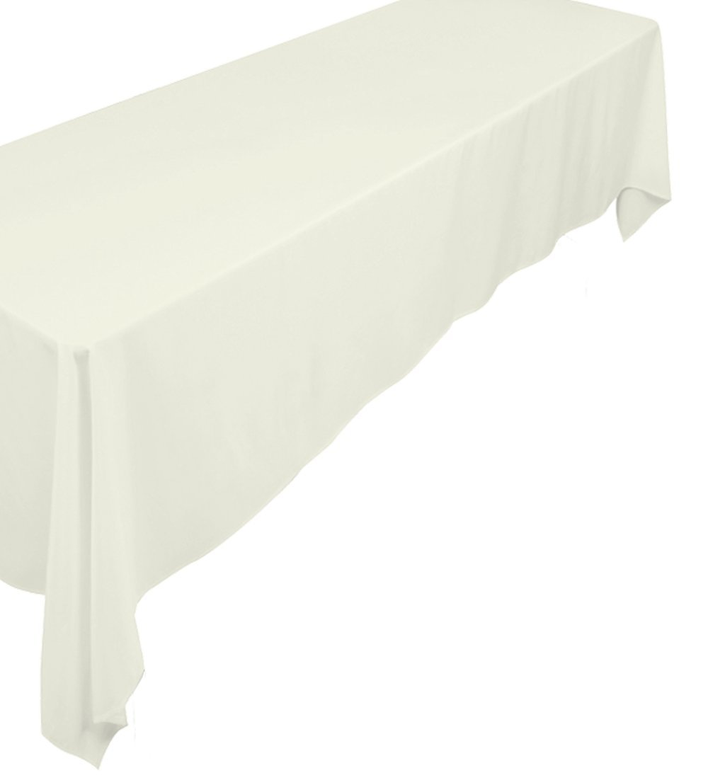 A-1 Tablecloth Company Rectangular 72-Inch by 120-Inch Poly Table Cloth, Ivory (Case of 10)