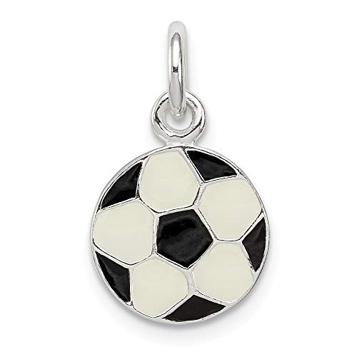 Jewel Tie Sterling Silver Enameled Soccer Ball Charm - (0.47 in x 0.43 in)