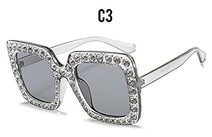 Burenqi@ Luxury Diamond Square Gafas de Sol Mujer Marca ...
