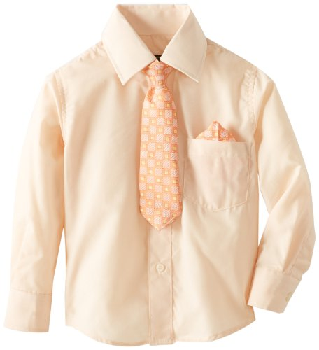 - American Exchange Little Boys'  Woven Shirt with Tie and Pocket Square, Peach, 7