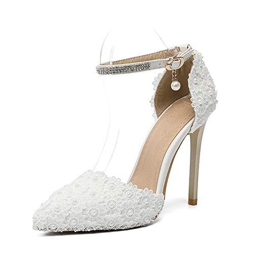 HRCxue Pumps Pumps Pumps Damenschuhe Feinsilberdiamant mit weißer Schnalle mit hoher Absatzspitze 9f36ce