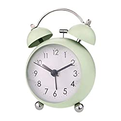 PILIFE 3 Small Twin Bell Alarm Clock,Cute with Backlight and Loud Alarm to Wake You Up,Silent Working Perfect for Bedroom and Work(Light Green)