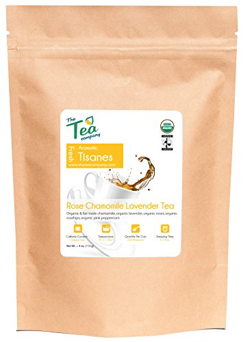 Organic Rose Chamomile Lavender Tea - Loose Herbal Blend - GMO Free - Relaxing - Calming Tisane by The Tea Company - Caffeine Free - Whole Flowers and Petals - Promotes Sleep - Bulk Tea 4 oz