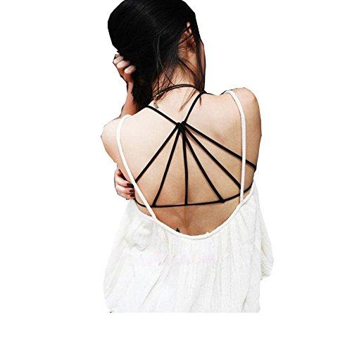 Shangke Women girl Strappy Crop Tank Tops Bustier Cutout Padded Bra Cami shirt (style 1)