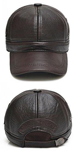 Sombrero Hombres Béisbol Orejeras Roffatide de de Hat Invierno Respirable Gorra Cuero con de Addqz4w