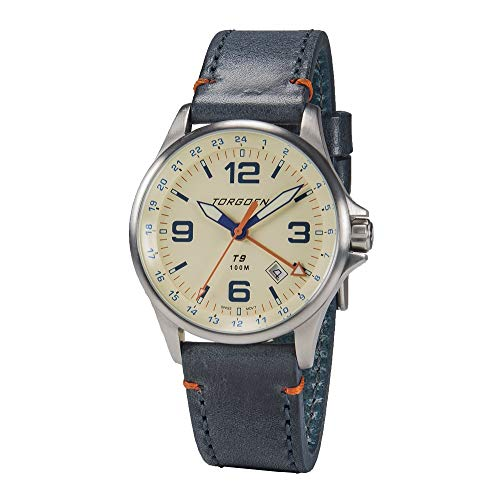 Torgoen T9 Cream GMT Pilot Watch | 42mm - Blue Leather Strap by Torgoen (Image #5)