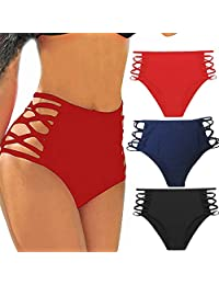 Sexy Women's Bikini Retro High Waisted Strappy Brief Bottom Tankini Swimsuit