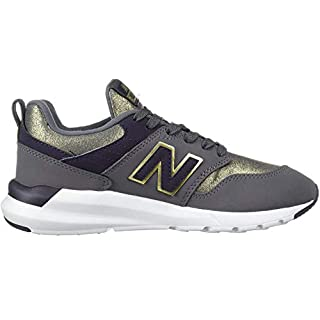 New Balance Women's 009 V1 Sneaker, Castlerock/Iodine Violet/Gold Metallic, 5.5 W US