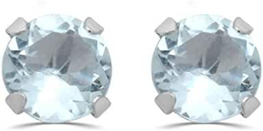 Jewelili 10kt White Gold 6 mm Aquamarine Stud Earrings