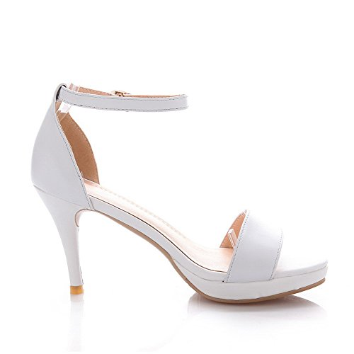 Amoonyfashion Femme Vache Solide Cuir Pointes Talons Aiguilles Bout Ouvert Sandales Blanches