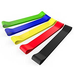 HyperFitter Set of 5 Resistance Loops Exercise Bands,Ideal for Home Workout,Yoga,Physical Therapy,Pilates with Carry Bag