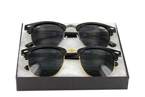 MJ EYEWEAR Vintage Inspired Classic Half Frame Horned Rim Wayfarer Sunglasses (1 Black/Gunmetal 1 Black/Gold, - Frame Mens