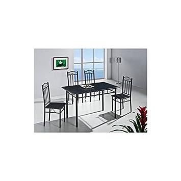 Quidin Esstisch mit 4 Stühlen, 5-Teiliges Set, Schwarz: Amazon.de ...