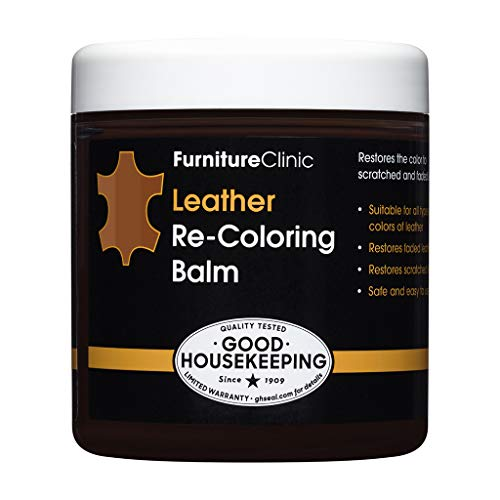 Furniture Clinic Leather Recoloring Balm (8.5 fl oz) - Leather Color Restorer for Furniture, Repair Leather Color on Faded & Scratched Leather Couches - 16 Colors Leather Repair Cream (Medium Brown)