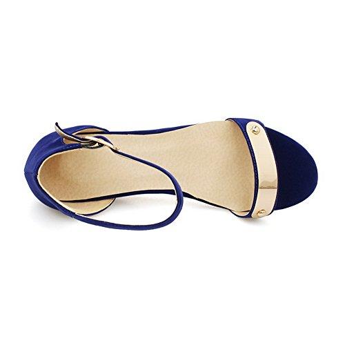à Sandales Coin Bleu Boucle Femme Unie Bas d'orteil Couleur Ouverture VogueZone009 Suédé Talon à HPw4nCq