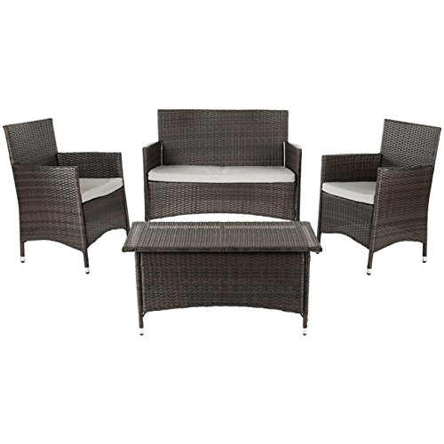 Safavieh Home Collection Briana Brown Outdoor Living Wicker Patio Set with Grey Cushions, 4-Piece