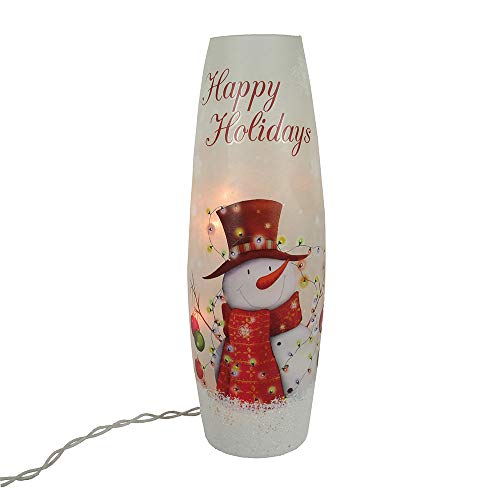 Kurt Adler Kurt S. Adler 11.5-Inch Battery-Operated Vase with Snowman and LED Table Piece, Multi -