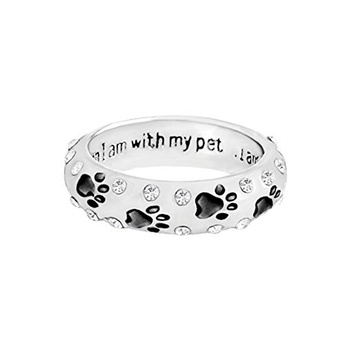 (lEIsr00y Fashion Unisex Cute Pet Dog Claw Paw When I with My Pet Rhinestone Ring Gift - Black US 6 Small Shiny Rhinestones Paw Pattern Carved Letter)