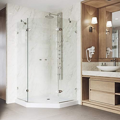 VIGO Gemini 47.625 x 47.625-in. Frameless Neo-Angle Shower Enclosure with .375-in. Clear Glass and Brushed Nickel Hardware (Low-Profile Shower Base Included)