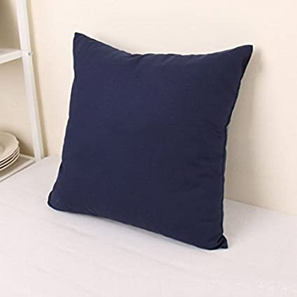 "TAOSON Home Decorative Cotton Canvas Square Throw Pillow Cover Cushion Case Solid Pillowcase with Hidden Zipper Closure Multiple Colors (18""x18""(45x45cm),Navy Blue)"