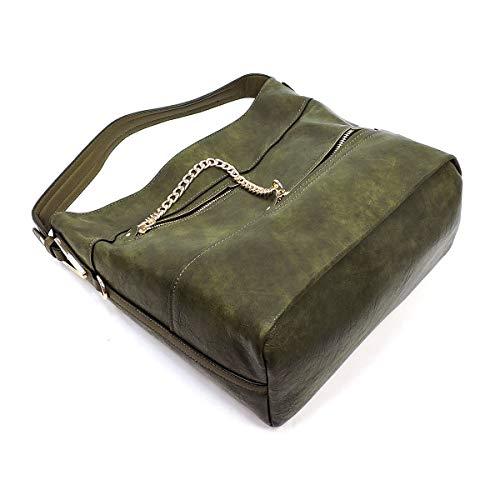 Zipper Wallet Chain Accented 5 Olive 3 Colors Miel Hobo w Strap Le Compartment amp; qtxvZFw5
