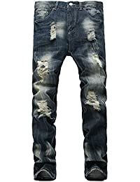 Men's Ripped Slim Fit Tapered Leg Biker Jeans Stretch Motor Pants