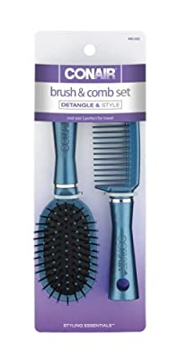 Conair Fusion Hair Brush and Comb, Cushion, Mid-Size, Colors May Vary