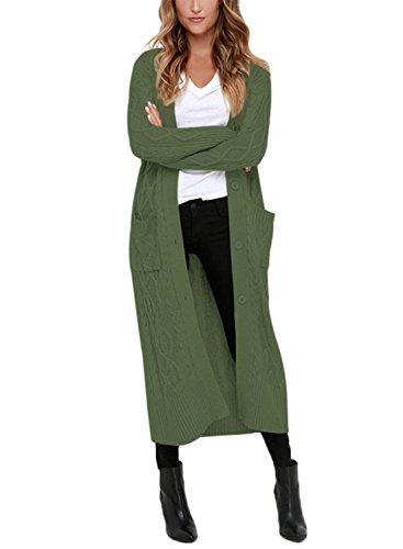 Woman Casual Woman Knit Cardigan Coat (Green) - 7