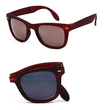 Foldable Solid Color Polycarbonate Brown Lens Plastic Brown Frame Sunglass with Box Black