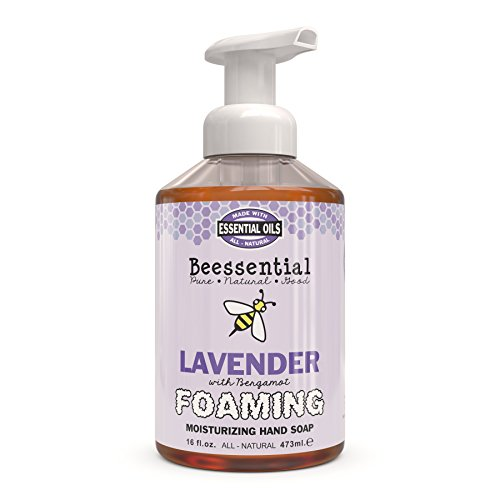 Beessential All Natural Foaming Hand Soap, Lavender and Bergamot Essential Oils, Made with Moisturizing Aloe & Honey - Made in the USA, 16 oz