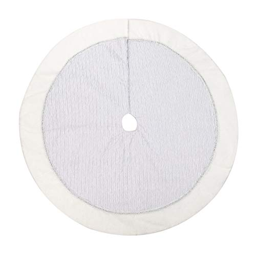 Alice Doria 48 inch Silver and White Christmas Tree Skirt with Silver Wrinkled Satin Layer and White Faux Fur Trim Border