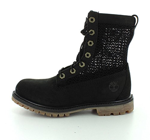 Timberland Womens Open Weave 6 Boot Black Nubuck With Black Weave