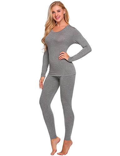 (Ekouaer Womens Thermal Underwear Set Henley Base Layer Stretch Top & Bottom, Grey, Large)