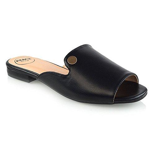 ESSEX GLAM Mujer Peep Toe Cuero Sintético Deslizador Fiesta Verano Sandalia Negro Cuero Sintético