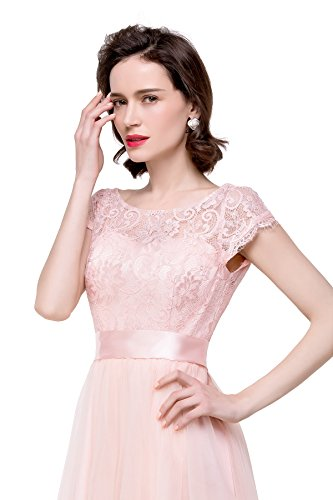 Rückfrei Damen MisShow Abiballkleider Arm A Tüll elegant mit Abendkleider Kurz Navyblau Brautjungfernkleider Maxilang Linie dXwdHxBqa