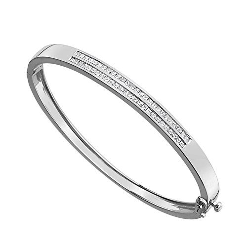- KATARINA Princess Cut Diamond Two Row Bangle Bracelet in 14K White Gold (1 cttw, H-I, I2-I3)