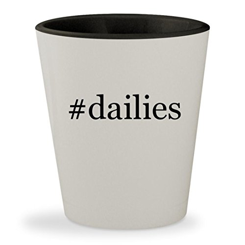 Dailies   Hashtag White Outer   Black Inner Ceramic 1 5Oz Shot Glass