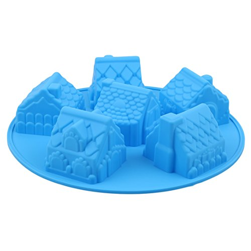 Rurah 3D Mini Houses Cake Soap Gingerbread Houses Silicone Mold DIY Cake Muffin Bread Baking Mold