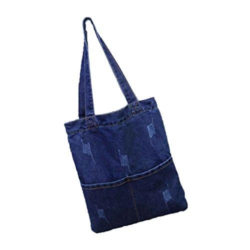 QotoneBorsa della tela di canapa della donna sacchetto del sacchetto di spalla del sacchetto di acquisto dello studente di grande capienza del denim