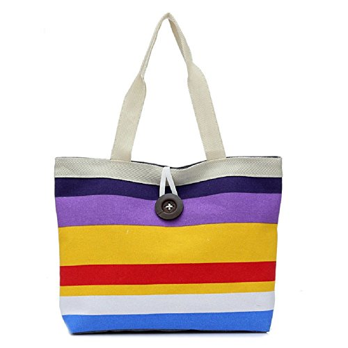 Canvas Colored Purse Bag Handbag Shopping Lady Satchels women Purple stripes Shoulder Tote Rcool fqZT0wq