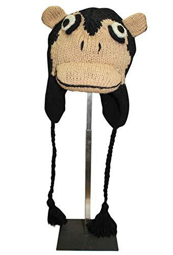 Sherpa Love Hand Knit Unisex Wool Animal Beanie Hat Cap Ear Flap Fleece Lined Nepal (Youth/Adult, Monkey)